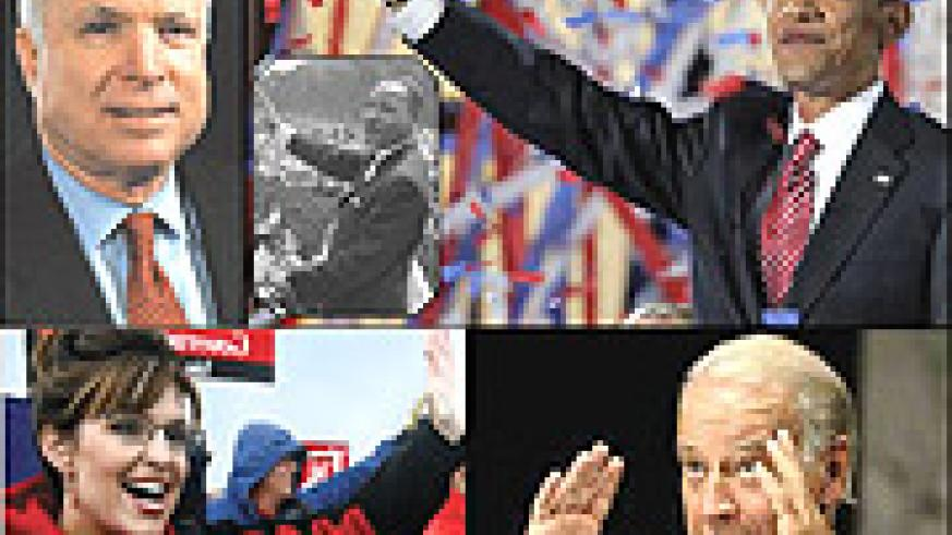 From top left: McCain  to address Republicans, Luther King on 28th August 1963 is echoed by Obama on 28th August 2008, Sarah Palin,an ex-beauty queen  and McCain's potential VP and Joe Biden, Obama's VP with a lot of experience in international relations.