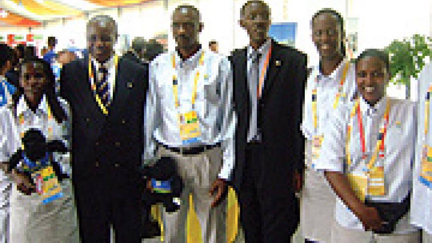 The Rwanda Olympics team in Beijing, including Ignace Beraho RNOC  President (2nd left.)