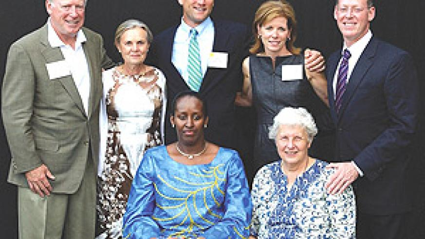 First Lady Jeannette Kagame with Sister Anne Fox. Behind them are  Mr and Mrs Ruettgers, Mr and Mrs Atchinson and Dr Farmer. (Courtesy photo).
