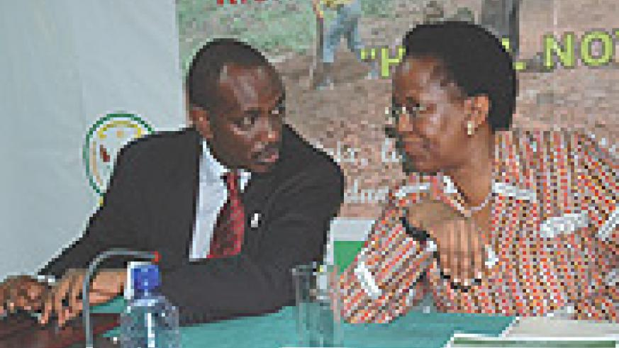 Ambassadors Sezibera and Mulamula at the recent meeting. (Photo/ J. Mbanda).