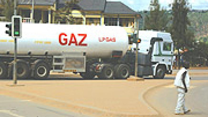 A trailer delivering fuel in Kigali. With the pipeline, oil trucks may cease to transport oil from Kisumu to Kigali.