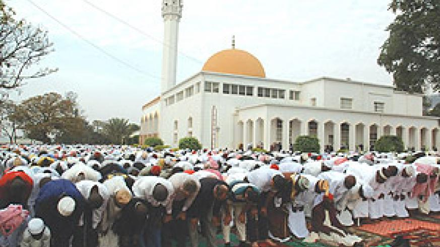 Muslims praying during Idd el-Fitri celebrations yesterday. (Photo/J. Mbanda),