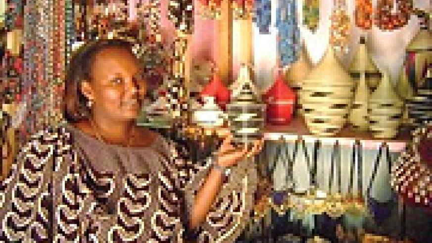 Murekatete Fracine in her  art and craft shop