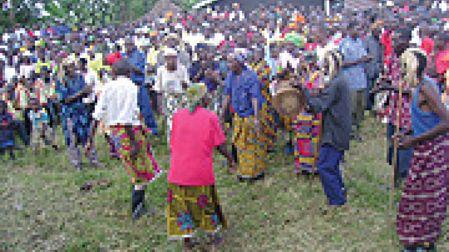 Congolese peasants dancing happily in Goma.