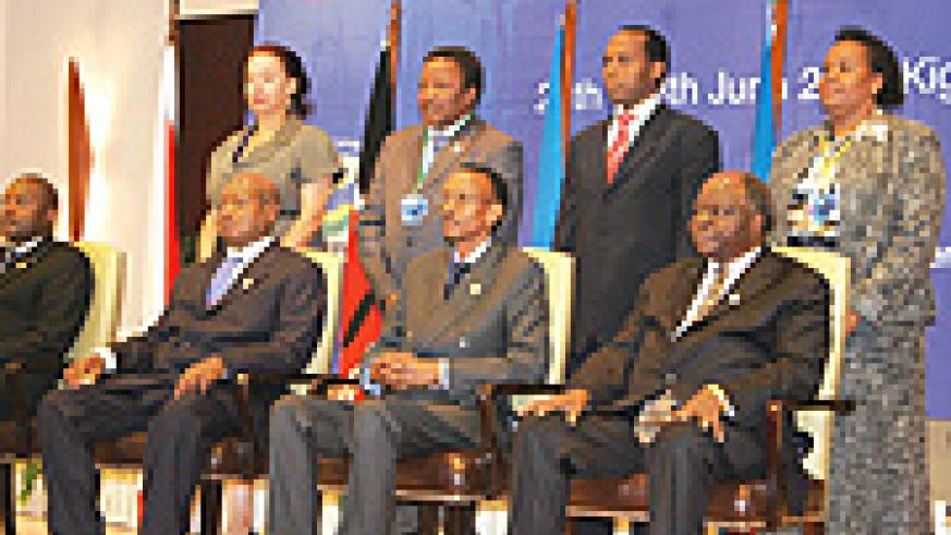 Presidents of East African states at the East African Investment Conference in Kigali.