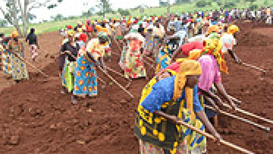 Mumeya community residents clearing the ground for laying the foundation of their hospital