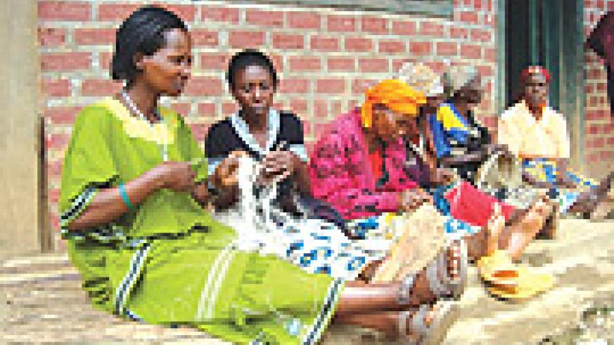 Basket weaving by local women in Rwanda