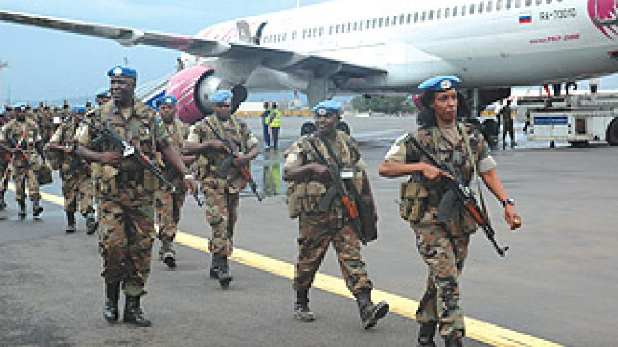 HOME SWEET HOME:  The last batch of the 51st Battalion on arrival from peacekeeping mission in Darfur at Kigali International Airport( Photo/ J. Mbanda)