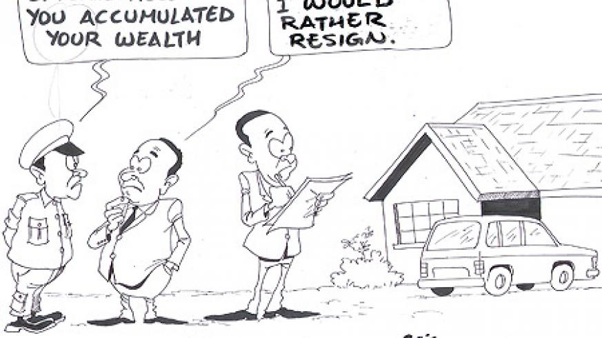 A commissioner  at RRA has resigned after failing to explain how he accumulated his wealth.