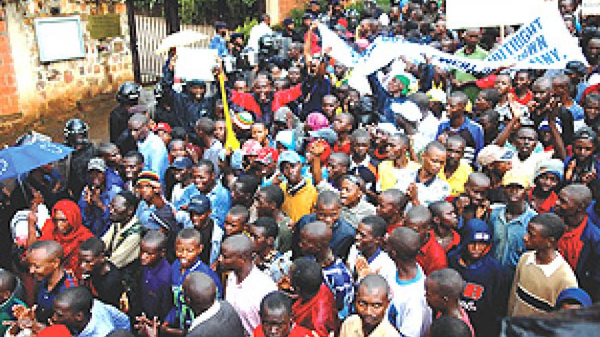 IN PROTEST: Thousands of Rwandans converged at the Germany Embassy to demostrate against the Rose Kabuye's arrest in Germany.