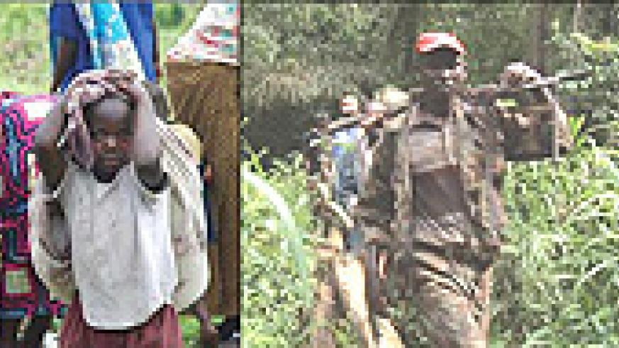 L-R: Congolese civilians on the run, hungry, confused, and clearly desolate, FDLR  rebels in DR Congo forest.