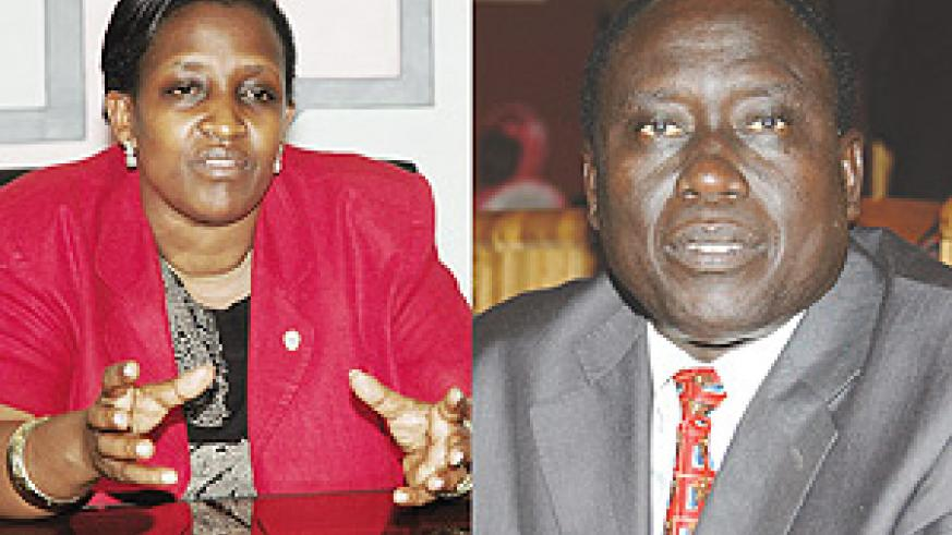 L-R: Foreign Affairs Minister, Rosemary Museminari, Justice Minister, Tharacise Karugarama.
