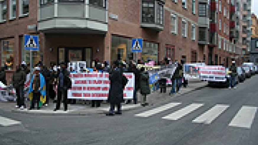 A section of Rwandans who turned up for the protests in Sweden.(Christopher Holmbäck)