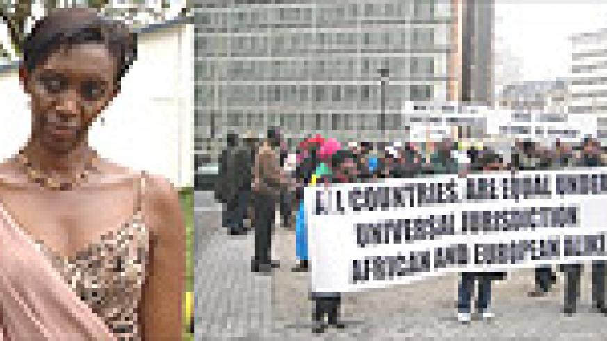 L-R: Rose Kabuye, Protesters in Brussels show their feelings on the arrest of Kabuye. (Courtesy photo).