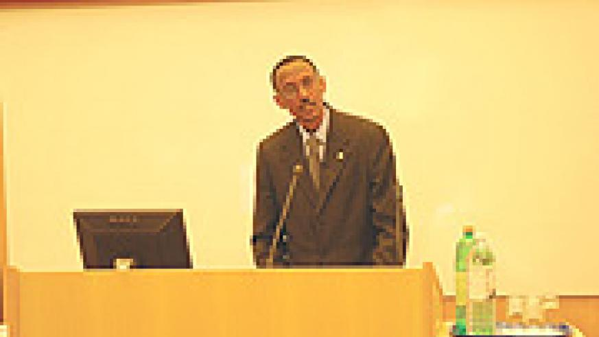 President Kagame delivers the S T Lee Public Policy Lecture at Cambridge University's Faculty of Law on Wednesday evening.