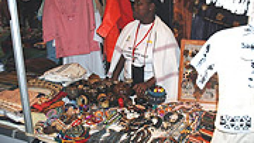 A Woman displays Crafts in the Jua Kali Expo that ends today (Photo J Mbanda).