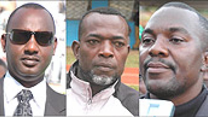 L-R: UNAWARE: Alex Kagame, SACKED: Andy Mfutila, FANCIES MOVE: Sam Ssimbwa.