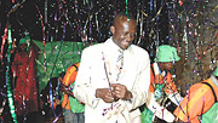 Joseph Habineza at the Lotto launch After buying the first ticket. (Photo File)