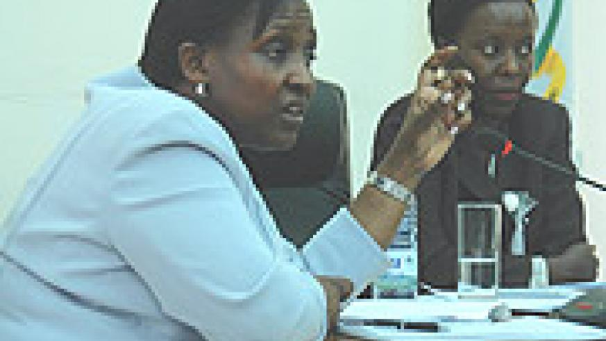 Minister of Foreign Affairs Rosemary Museminali   with Louise Mushikiwabo the Minister of information during the press conference yesterday. (Photo/ G. Barya).