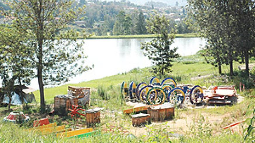 Dilapidated equipment that was meant to be part of Kigali City Park lie wasteful besides an artificial lake. (File Photo).
