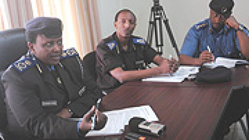 L-R: Acting Commissioner General of Police Mary Gahonzire, CID Director Ass. Com. Christopher Bizimungu and the Director of Community Policing Chief Supt. Emmanuel Butera at the Press Conference yesterday. (Photo/ J Mbanda).