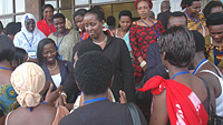 The First Lady with women entrepreneurs recently. (File Photo).