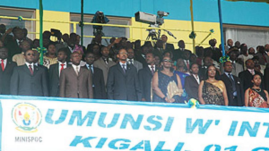 President Kagame flanked by other dignatories during celebrations to mark Heroes Day yesterday at Amahoro Stadium. (Photo G. Barya)