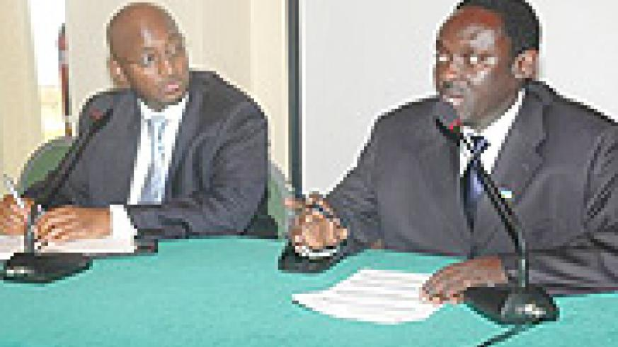 Amb. Zephyr Mutanguha and Bakuramutsa at the conference on Thursday.