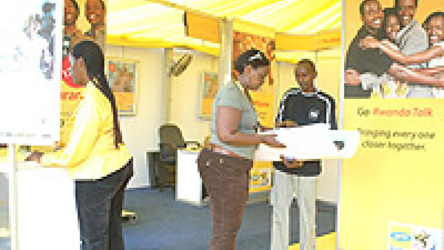 An MTN stand at a recent trade show in Kigali. (File Photo)