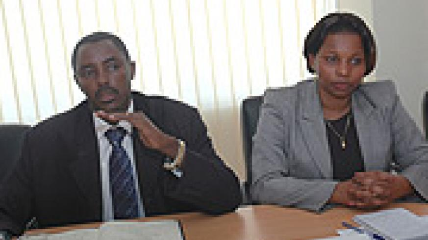 CNLG Executive Secretary Jean de Dieu Mucyo (L) and the Commission Vice Chairperson Christine Tuyisenge. (Photo/ J Mbanda).
