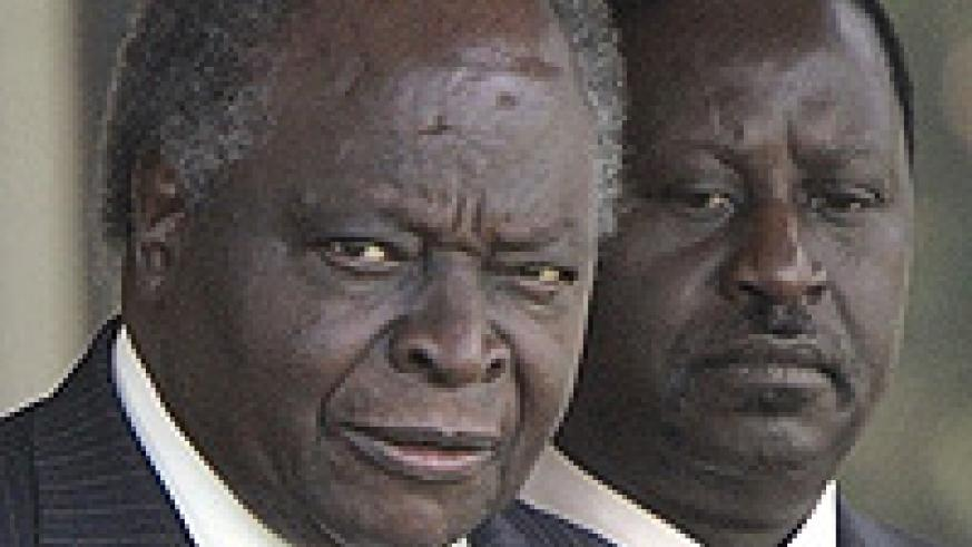 Kenya's President Mwai Kibaki (left) and opposition leader Raila Odinga (right) as Prime Minister.
