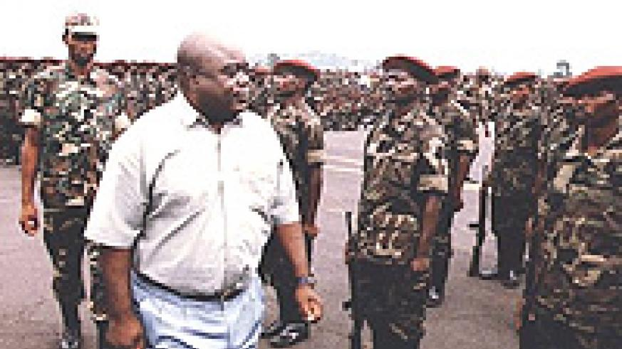 Laurent Kabila inspecting his troops in 1997.