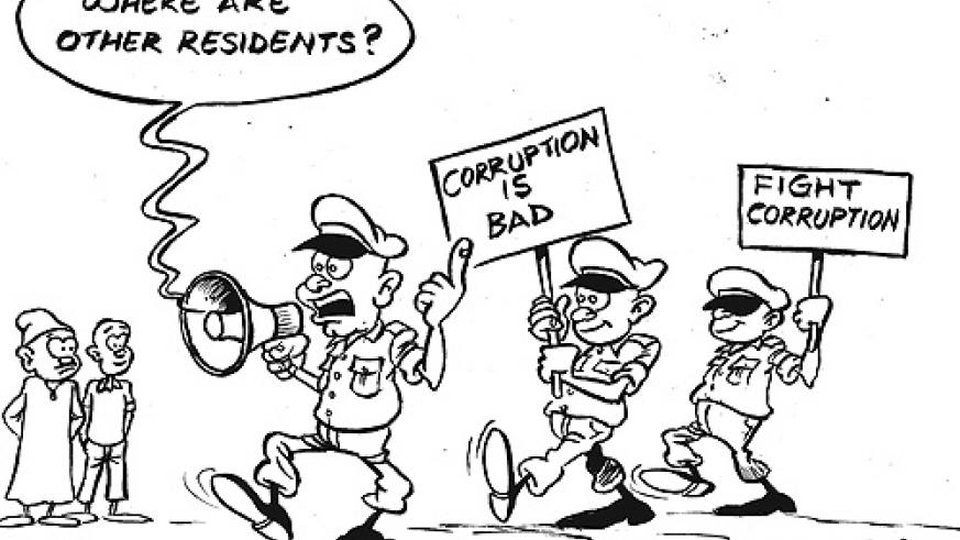 Residents of Muhanga District last week snubbed the anti-corruptionn procession in Gitarama town.
