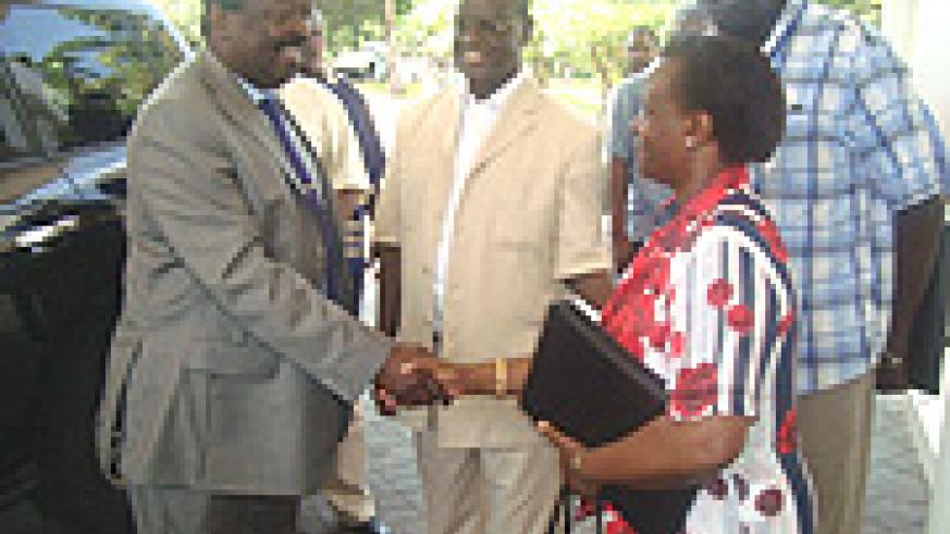 MININFRA PS Marie Claire Mukasine welcomes Kenyan Deputy Premier Mudavadi for the closing ceremony of the Petroleum conference in Mombasa on Friday. (Photo/ G. Muramila).