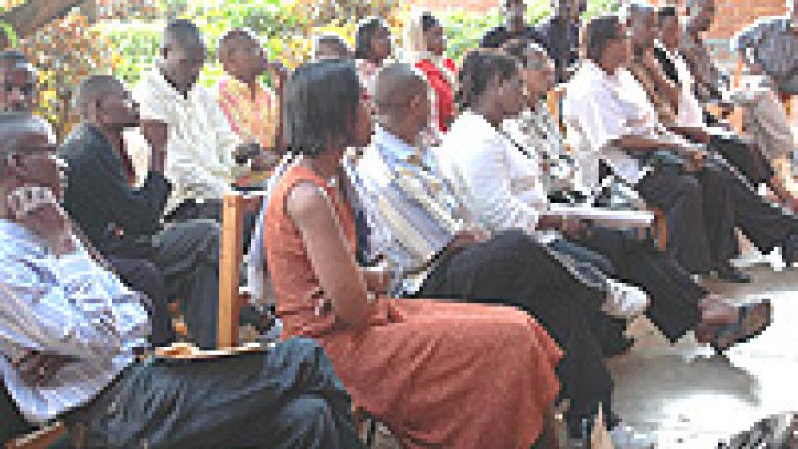 Some of the employees that were retrenched by Rwandatel. (Photo G. Barya)