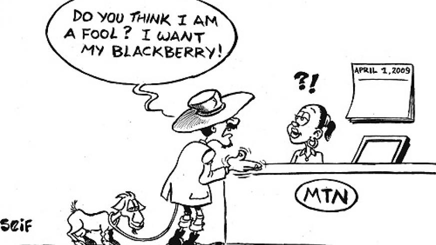 Hundreds were duped by an April Fools article in The New Times yesterday that mobile telephone operator, MTN, would give out free Blackberry phones to the first fifty customers. The MTN switchboards were clogged by callers wanting to be in the deal.