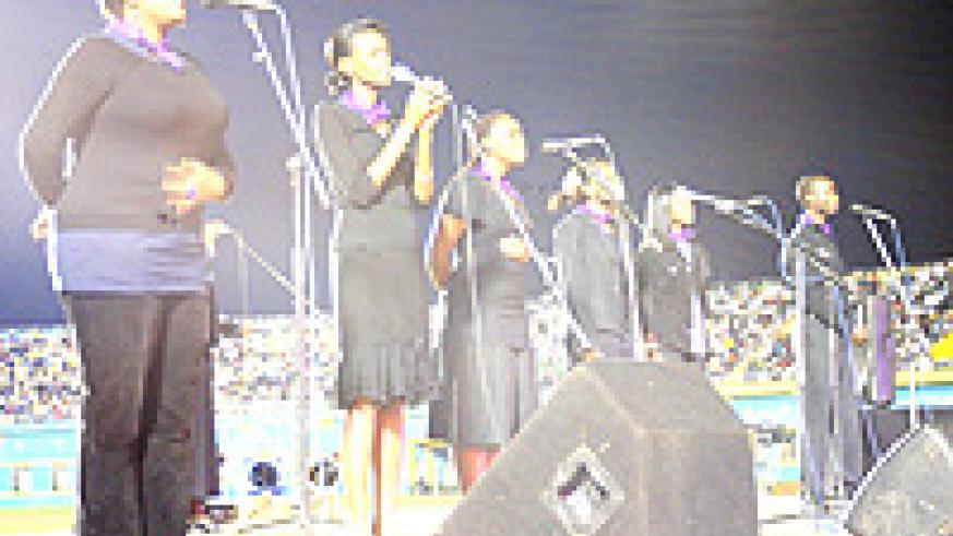 'Never again' - regional musicians perform at Amahoro stadium.