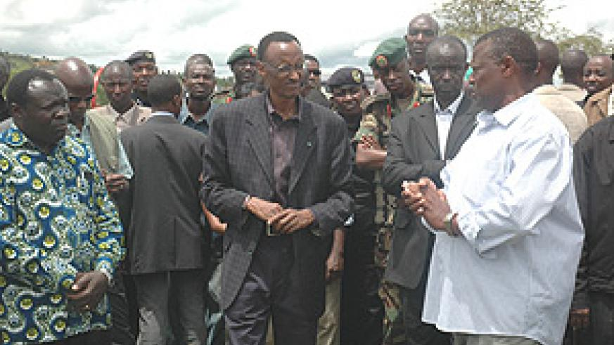 President Kagame listens to the chairman of Akayange Dairy Farm in Nyagatare Dustrit during his current tour of the Eastern Province. (Photo/ E. Kagire).