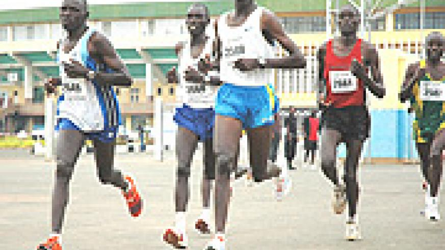 The Kigali International Marathon attracts some of the best regional athletes like  Kenya's Daniel Rotich (centre) who won the full marathon in 2007. (File photo).