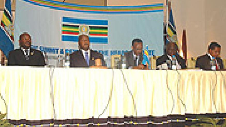 The five EAC Heads of State during the First Regional Investment Forum  in Kigali last year.( File photo)