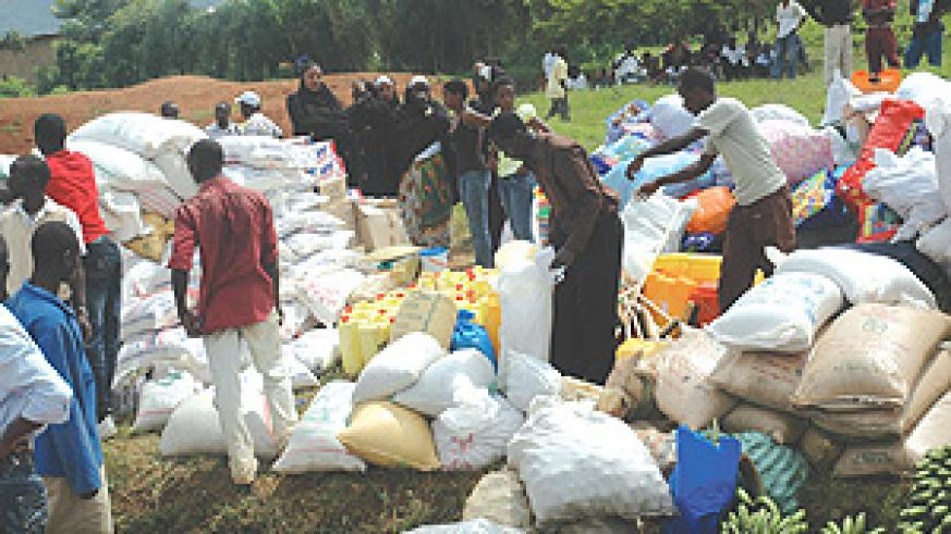 An assortment of materials that Contact FM and its listeners delivered to Genocide  ophans at Rugarama Nyamirambo Sector Nyarugenge District. (Photo/ G.Barya)