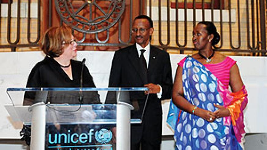 President Kagame and Mrs Kagame are introduced by Caryl Stern, President of the US Fund for UNICEF, at the Children's Champion Award Dinner in Boston. Both were awarded for their work in improving the lives of Rwandan children. (PPU photo).