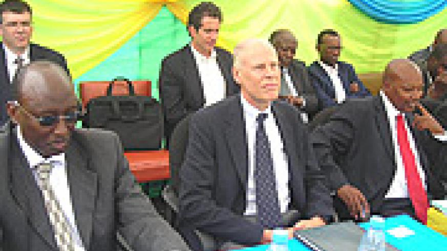 David Rwiyamirira, Ted Abrahamson and Governor Celestin Kabahizi at the SOPYRWA event in Musanze (Photo B Mkombozi)
