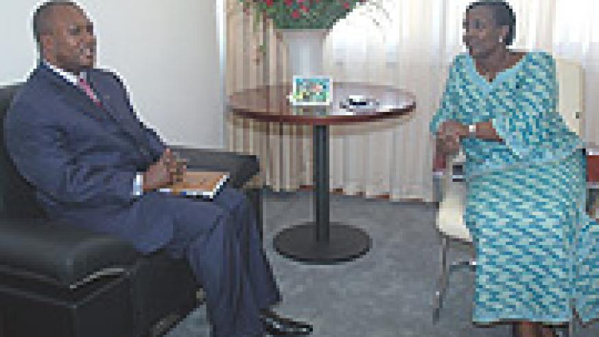 Foreign Affairs Minister Rosemary Museminali (R) and Eugene Serufuli when the latter and his delegation paid a courtesy call to the Minister.(Photo J Mbanda).