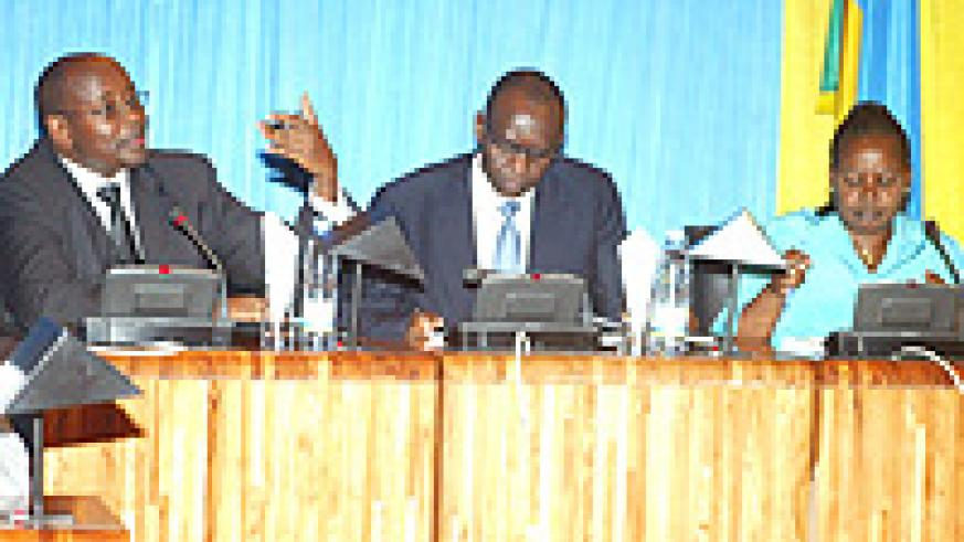 Finance Minister James Musoni presenting budget estimates for the year 2009 - 10 at parliament recently. (Photo: J. Mbanda)