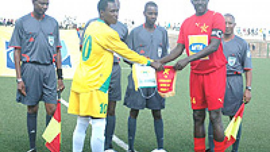 SKIPPER'S ROLE: Atraco captain Jean Shyaka (L) with his El-Merriekh counterpart going throug the formalities before their Champions League encouter early this year.