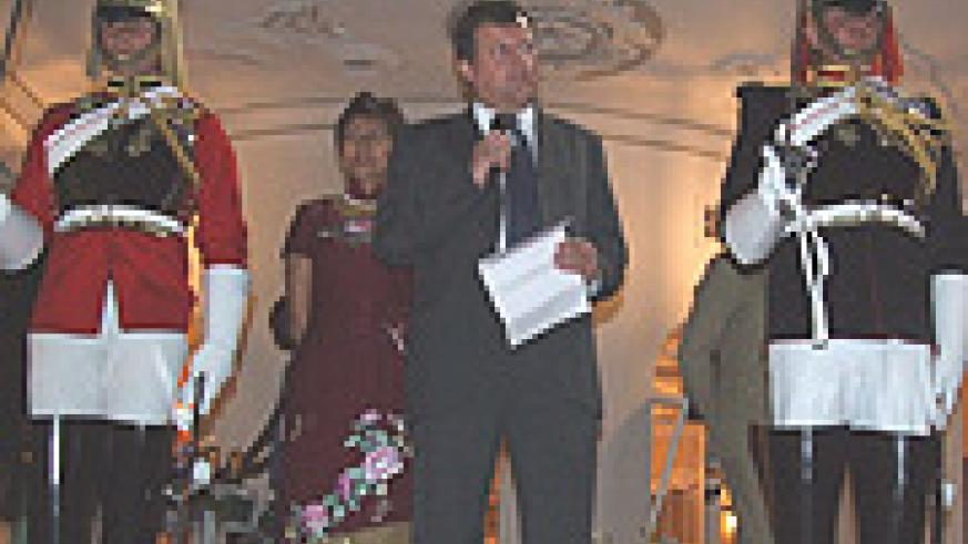 British Ambassador Nicholas Canon delivers his remarks as his wife looks on, during the celebrations to mark Queen Elizabeth's 83rd birthday in Kacyiru. (Courtesy photo).