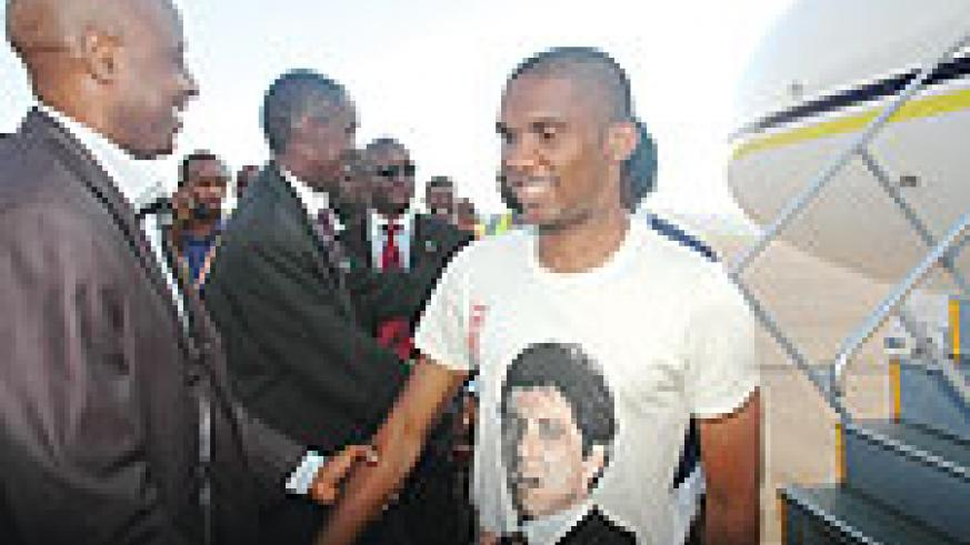 WELCOME: The Africa Stars led by Cameroon striker Samuel Eto'o were received at Kigali International Airport by Ferwafa boss Jean Bosco Kazura and Sports Minister Joseph Habineza among other government officials. (Photo/ J. Mbanda)