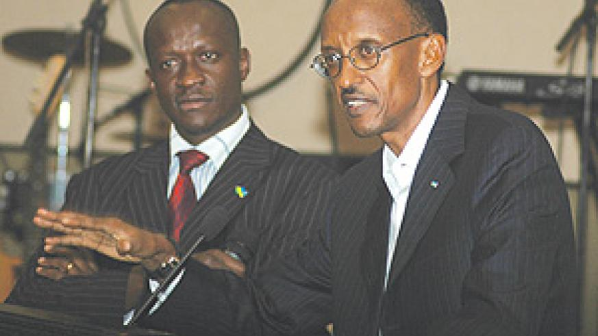 President Kagame delivers a speech at a banquet for the African stars at Serena hotel on Monday. (Photo/J. Mbanda)