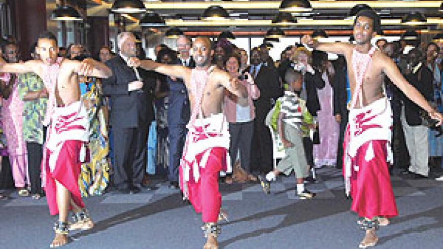 Urunana Youth Cultural Troupe Intore Dancers entertaining the guests at celebration to mark the 15th Anniversary of the Liberation Day in Geneva. (Courtesy photo)
